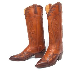 d4574d6c6c5 Details about Lucchese Classics Brown Cowboy Boots - Women's 7.5B Tall  Wingtip Overlay