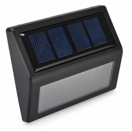 6 LED Solar Power Lichtsensor Wandleuchte Garten Schritt Lampe Treppenlicht