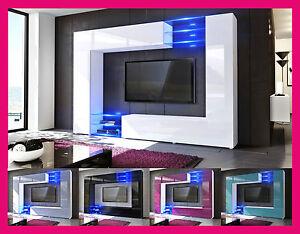 Details Sur Combinaison Murale Panneau Meuble Laque Gloss Bois Table Basse Tv Salon Design