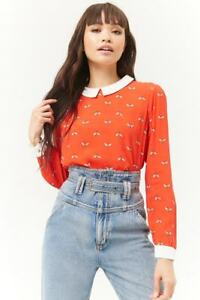FOREVER-21-Red-Cream-Bee-Print-Peter-Pan-Collar-Top-Blouse-S-M