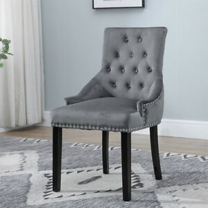 Grey Accent Dining Chair Button Tufted Velvet With Rivets