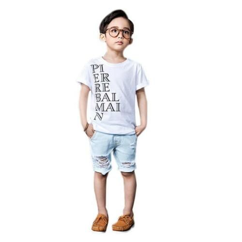 Summer Kids Blouse Boy Egg//Star//Alphabet Pattern Short Sleeve Tops T-Shirt Tees