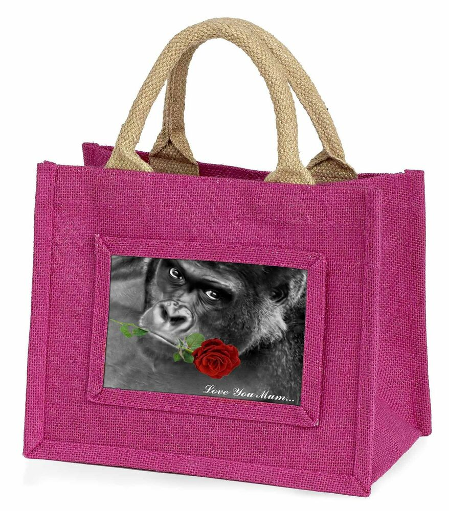 Soigneux Gorilla+red Rose 'love You Mum' Little Girls Small Pink Shopping Ba, Am-6rlymbmp Limpide à Vue
