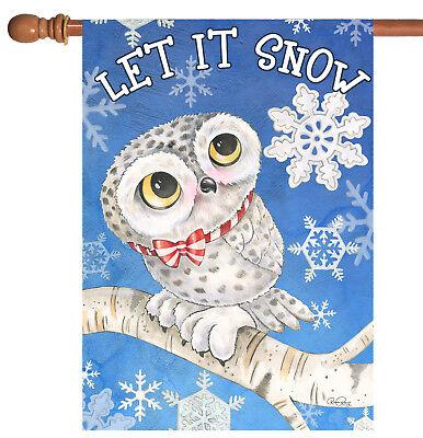 Toland Snowy Owl 28 X 40 Cute Let It Snow Winter Bird Snowflake House Flag Ebay
