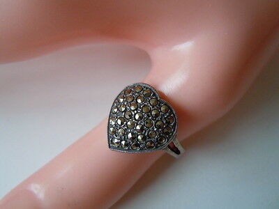 "3,5 G Kind-Hearted 925 Sterling Silber Ring Mit Markasiten ""heart"" Herzform Gr 53 Fine Jewelry"