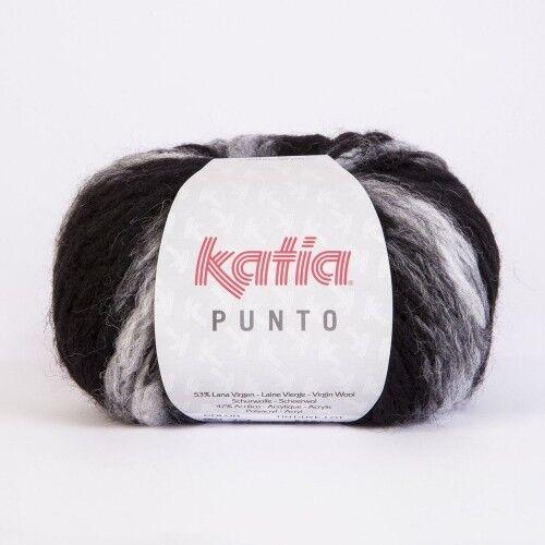 50 m Wolle NEGRO//GRIS CLARO 707 PUNTO von Katia - 50 g // ca