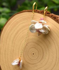 B15-Unequal-Earrings-Gold-Plated-Barockperlen-Freshwater-Pearls