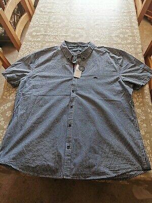 men's matalan easy blue check slim fit short sleeve shirt