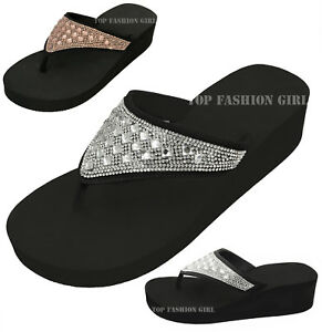 a520615b114 NEW Women s Sparkly Rhinestone Platform Thong Flip Flop Sandals ...