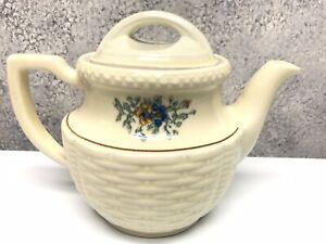 Vintage-1940s-Porcelier-Vitreous-China-Basket-Weave-Floral-Tea-Pot