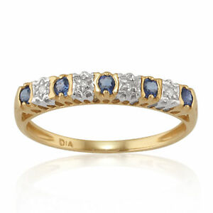 9ct-Yellow-Gold-0-24ct-Natural-Sapphire-amp-Diamond-Half-Eternity-Ring-Size