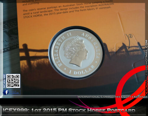 1oz 2015 Perth Mint Stock Horse Postcard Only 1000 Worldwide