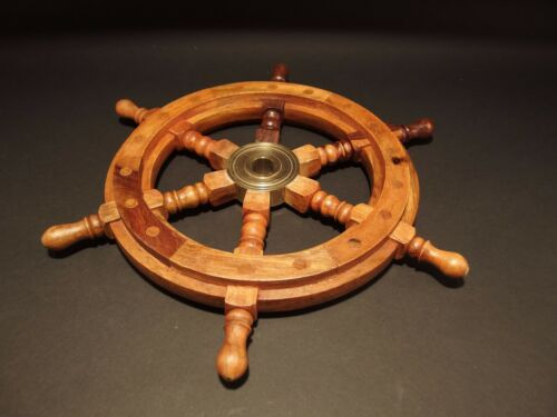 "13/"" Vintage Antique Style Wood Nautical Ships Helm Steering Wheel"