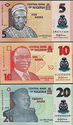 NIGERIA 3 PCS SET UNC 5 10 20 NAIRA 2016 TO 2018 POLYMER P 38 39 40