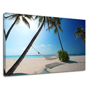 Love Hammock On Palm Trees Tropical Beach Canvas Wall Art Picture Print Ebay