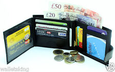 GENTS REAL SOFT BLACK LEATHER CREDIT CARD HOLDER, PURSE, COIN POUCH WALLET 304