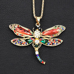 Betsey-Johnson-Crystal-Rhinestone-Cute-Dragonfly-Pendant-Women-039-s-Necklace-Gift