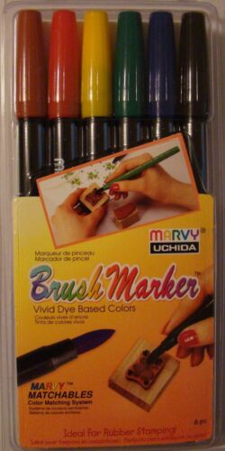 Rubber Stamping Marvy Uchida Brush Markers PRIMARY Set of 6 1500-6A Brand NEW