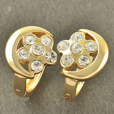 Lovely 9K Solid Gold Filled CZ Crystal Huggie Womens Lucky Hoop Earrings