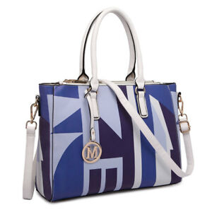 eb4d87e4163 Details about MISS LULU PU LEATHER HANDBAG SHOULDER BAGS PATCHWORK TOTE  GEOMETRIC
