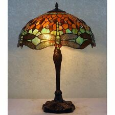 "16"" Amber & Green Dragonfly Art Deco Tiffany Style Stained Glass Table Lamp"