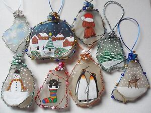 Hand-painted-sea-glass-Christmas-tree-decorations-Reindeer-Snowman-Robin-Holly