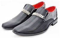 Guciani New Mens Italian Design Leather Look Diamante Slip On Shoes Black 6-12