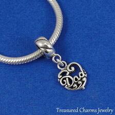 .925 Sterling Silver DAD HEART Dangle Bead CHARM fits EUROPEAN Bracelet