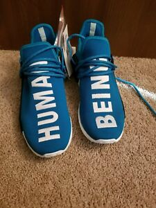 "hot sale online fa530 33820 Details about Pharrell Williams x Adidas NMD Human Race Blue ""Human Being""  Size 9.5"