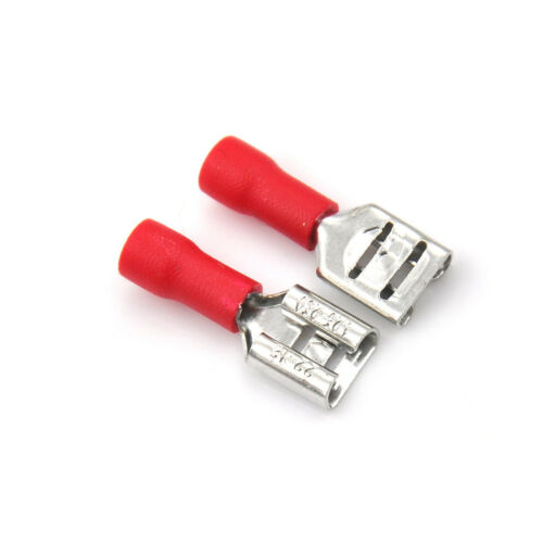 20Pcs 6.3mm Insulated Female Spade Terminal Crimp Wire Connector 22-18AWG Red KK