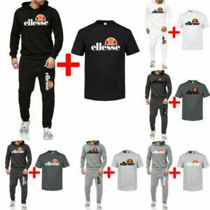 Herren ellesse Jogging Trainingsanzug Sweatshirt Sportanzug Polyanzug 3piece set