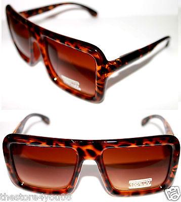 Oversize Vintage Design XL Sunglasses Run DMC Old School Tortoise Ember Square