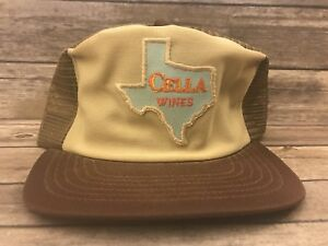 e274cfd1e Details about Vintage Cella Wines Texas Mens Brown Trucker Hat Rare  Snapback Cap