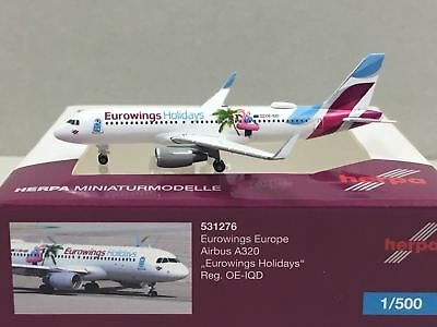 "Herpa Wings 1:400 562676  Eurowings Europe Airbus A320 /""Eurowings Holidays/"""