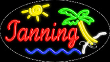 """NEW """"TANNING"""" 30x17 OVAL SOLID/FLASH REAL NEON SIGN w/CUSTOM OPTIONS 14483"""