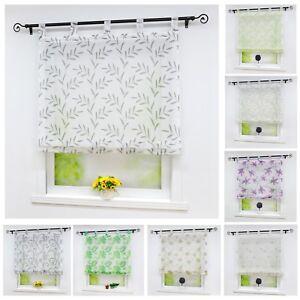 Details zu Raffrollo Gardinen Küche Raffgardinen mit Schlaufen  Fenstergardine Wohnzimmer