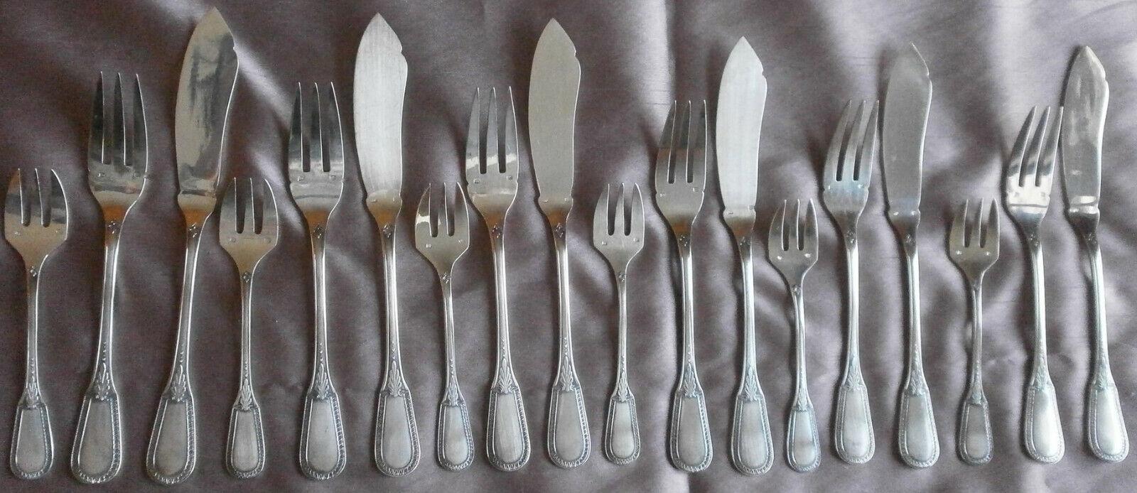Félix frères Ménagère   couverts à poisson métal argenté 18 pièces Modèle Empire