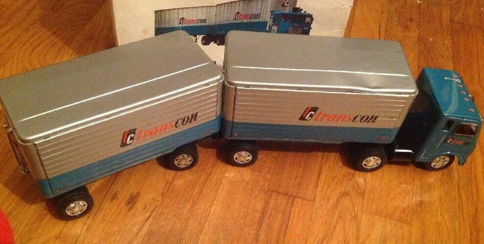 Vintage TRANSCON LINES Tractor Twin Trailer Tin Toy Friction Japan Tested    IOB