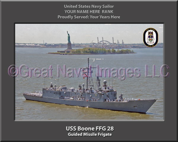 USS Boone FFG 28 Personalized Canvas Ship Photo Print Navy Veteran Gift