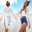 Femmes dentelle épissage Tassel Bikini Cover Up Maillots de bain maillot de bain robe de plage