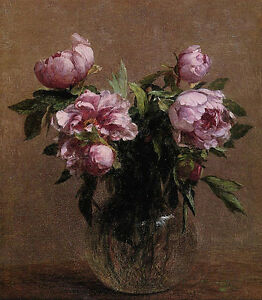 Dream-art Oil painting nice still life peony flowers in glass vase Hand painted