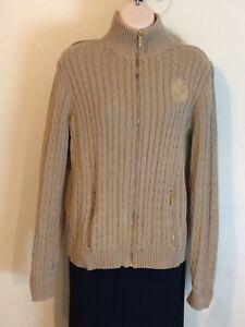 Ralph-Lauren-Women-s-Cable-Knit-Sweater-Light-Brown-Zipper-100-Cotton-Large-XL