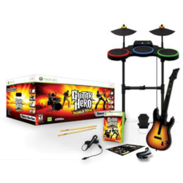 Activision Xbox 360 Guitar Hero World Tour Complete Band Kit Set Drums Mic  047875955196