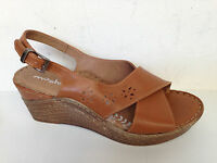 Moshulu 'lavender' Leather Slingback Sandals Tan Uppers Wedge Heel 5 Uk 38 Eu
