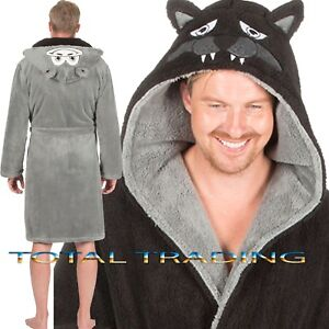 MENS-DRESSING-GOWNS-hooded-ROBES-MONKEY-WOLF-GORILLA-ape-snuggle-cosy