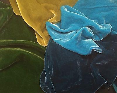 "Silk VELVET BLUES & GREENS Fabric Sample Set Remnants Lot - 6""x22"" Each"