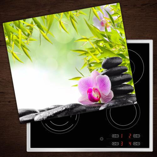 Tulup FORNELLO lastre di copertura in vetro PARASPRUZZI Bambù /& Orchidee 60x52 cm