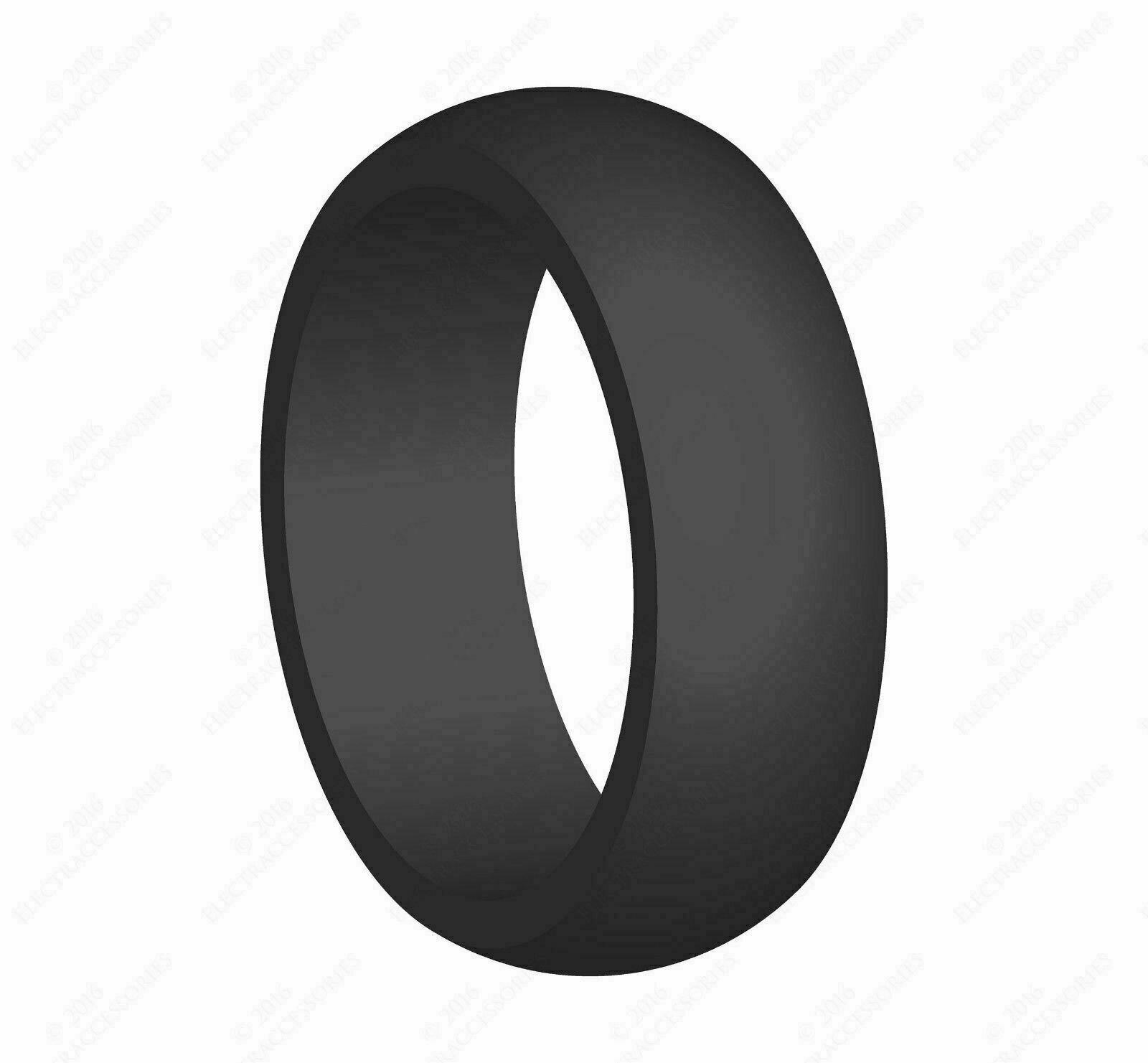 Details about  /Flexible Silicone Wedding Engagement Ring for Men Black Rubber Band Size 10
