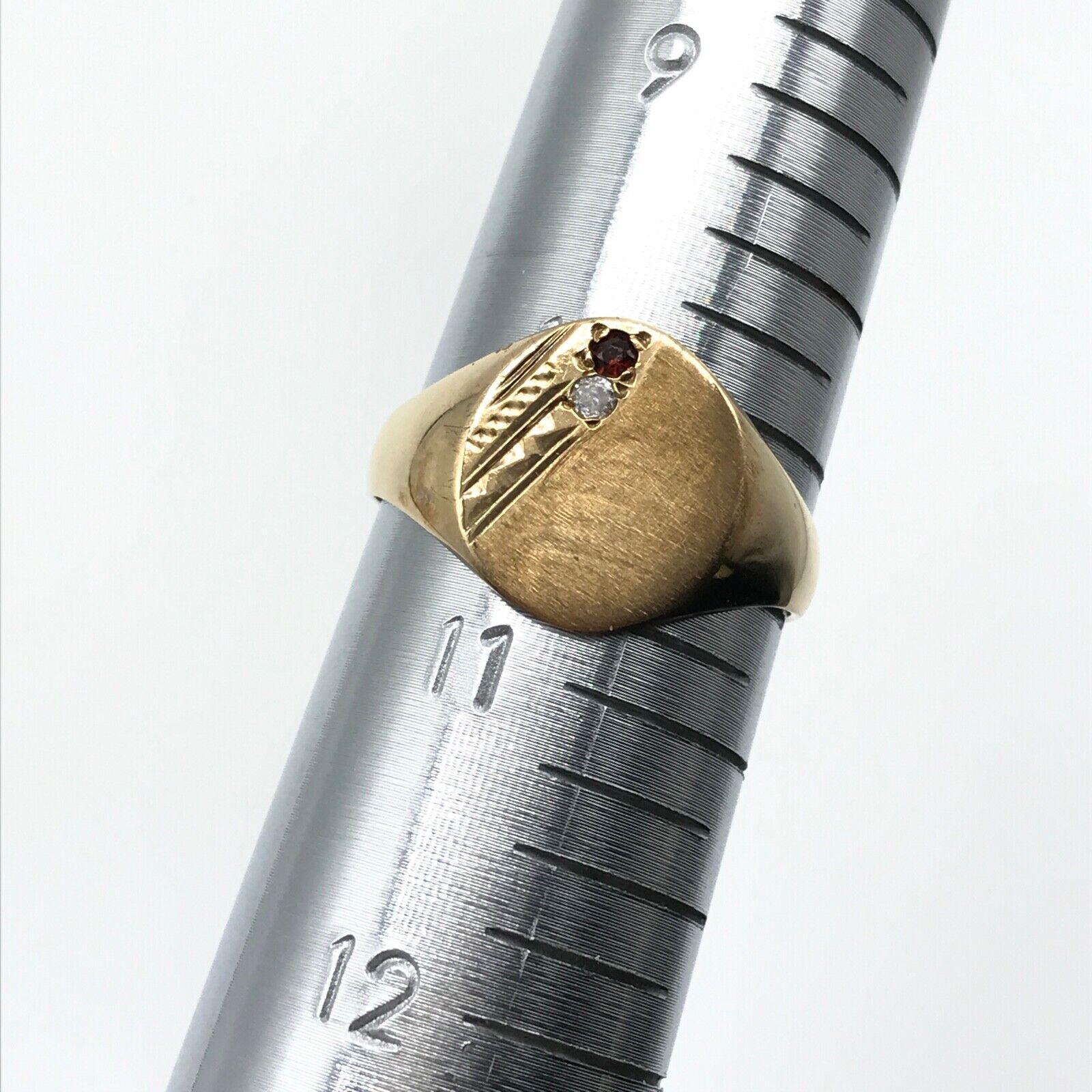 9k Yellow Gold Men's Vintage Garnet CZ Signet Ban… - image 5
