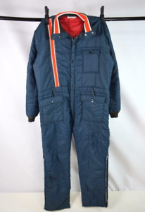 Vtg-70s-Blue-Red-Stripe-Coveralls-Ski-Snow-Suit-Board-Insulated-Jumpsuit-Mens-M